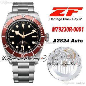 ZF 2016 Shield 41mm A2824 Mens Automático Assista Red Bezel Black Dial Aço Inoxidável Pulseira Best Edition New puretime PTTD C10
