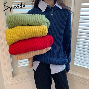 Syiwidii woman sweaters Batwing Sleeve Solid Pullovers Casual winter clothes women fall korean tops japanese fashion blue 201019