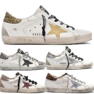 GGDB2019 Italia Marchi d'oro Old Style Fashion Designer delle scarpe da tennis del cuoio genuino delle donne degli uomini dei pattini casuali Oche Trainer Superstar CRF