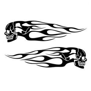 Pair Universal Motorcycle Decal Gas Oil Tank Flames Skull Badge Sticker car