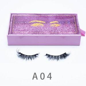 [Mink False Eyelashes-A04]15mm lashes Lash Extension 3D Mink Hair False Eyelashes Eye Makeup Tools custom lashes boxs