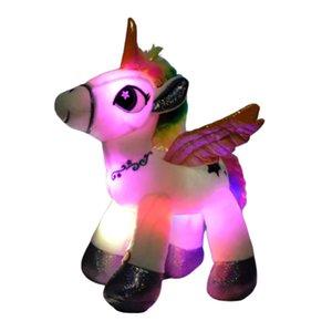 دروبشيبينغ 36CM الإبداعية LED قوس قزح يونيكورن القطيفة ألعاب متوهجة دمية لطيف الحيوان يونيكورن لعبة اطفال اطفال هدية عيد ميلاد 201027