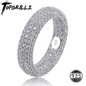 Best Quality 925 Sterling Silver Stamp Ring Full Iced Out Cubic Zirconia Mens Women Engagement Rings Charm Jewelry For Gifts 201006