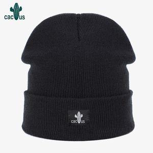 Шапочки шапочки / черепа шапочки для женщин сплошной шерстяной утолщенной зимней женской вязаной шапки вышивка теплые шляпы мягкие повседневные капоты черепочки