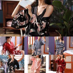 CF6Fashion Bathrobes G-String pijama Pijamas Robe amantes Sleepwear Thongs Womens Lingerie Freeze Ice Silk Roupão de Silk Gsfmm