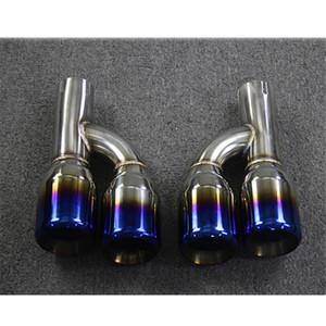 1 Paar Auspuffrohre 304 Edelstahl-Endschalldämpfer Spitze Länge über 240mm Auto-Universal Blue Car Endrohr Auspuffkrümmer