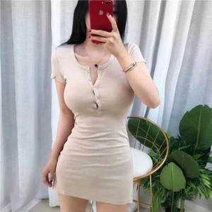 Aossviao mini платье вязаное упругие без рукавов bodycon элегантные женщины 2020 летние сексуальные v-образные вырезы, пуговица тонкие платья # h15b