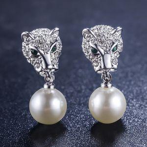 2 pares / lots earings maravilhoso baixo preço de alta qualidade leopardo silvergold de pérolas naturais de cristal de diamante 925 prata da senhora 16,5