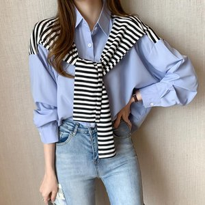 Hot Sale Top Female Cute Long Sleeve Lapel Women's Blouses Solid Printing Button Design