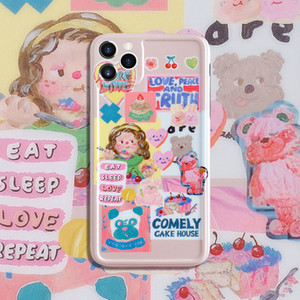 Cartoon stickers Phone Case For iPhone 11 7 8 Plus 7plus 8plus X XR XS MAX 11Pro Max SE Case Couple Soft Silicone Cover
