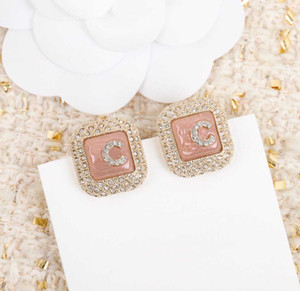 Luxurious quality stud earring with pink creamic and diamond for women wedding jewelry gift free shipping PS3651