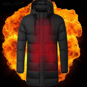 Men Puffer Parka Winter Jackets Keep Warm Long Coat Hooded Heated Jackets Black Down Cotton Trench USB Thermostat Hiking Clothes