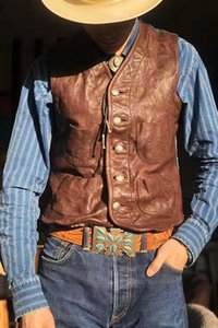 New product leather vest jacket men RRL2015 old western cowboy waist coat goat leather with hand-woven waistcoat