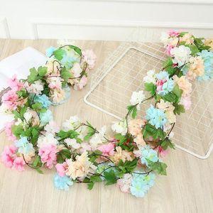 Simulation cherry Artificial Sakura Rattan Wedding Arch decoration Vine plan fake flowers Home party decor Silk Ivy wall Hanging