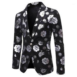 Chaquetas de Blazer de Hombres Nueva Moda Rosa Impresión Casual Vintage Vintage Cuello de giro de manga larga Impresión de traje floral Abrigo Chaqueta 1