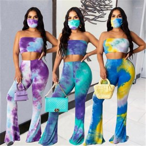Sports Tracksuits Ladies Tie-Dye 2pcs Sets Fashion Trend Breast Wrap Strapless Tee Tshirts Suits Designer Female Casual No Mask Trousers