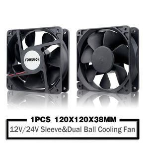120 milímetros 12 centímetros 12038 Fan 12V 24V 120 milímetros * 120 milímetros * 38 milímetros Fan DC sem escova 120x120x38mm Cooling 2PIN PC computador caso Refrigerador