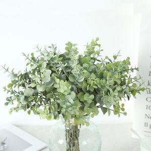 الزهور الزهور اكاليل لان كواي فونغ النبات اصطناعي الأوكالبتوس يترك المال ورقة التعادل شعاع الديكور المنزل النباتي