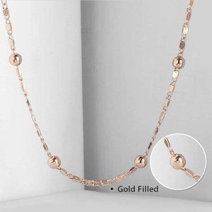 2mm Marina Stick Bead Link Chain for Women Necklace 585 Rose Gold Necklace Chain NEW Wholesale Jewelry Gifts 20 24inch CN18