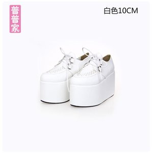 Princess sweet punk shoes Spring and autumn harvests hot punk sharp tie fry thick bottom slope and sponge cake shoes pu8363