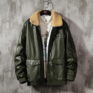 Yeni Erkekler kış ılık PU Deri Ceket Sahte Kürk Fleece Marka Yüksek Kalite Dış Giyim Erkek Businesstop ceket giysi