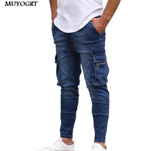 MUYOGRT Casual Cotton Denim Trousers Multi Pocket Cargo Jeans Men New Fashion Denim Pencil pants Jeans Men Pants
