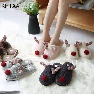 Khtaa inverno mulheres chinelos quente pelúcia cute elk rena deslizamento de natal na casa feminina macia sapatos senhoras conforto y200106