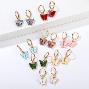 مجوهرات فراشة أقراط لامعة كريستال ستريت ستايل إسقاط أقراط الأزياء الكورية أقراط استرخى للمرأة هدايا