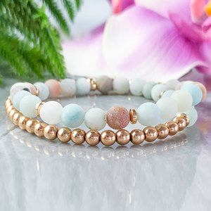 MG1065 Amazonite and Rose Gold Hematite Wrap Bracelet Dainty Bohemian Gemstone Bracelet Natural Anxiety Relief Stacking Bracelets