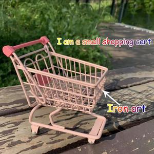 Mini Kawaii Einkaufswagen Desktop Aufbewahrungskorb Rosa Trolley Eisen Kunst Kreative Nette Verzierung Home Decoration Party Foto Requisiten Q0120
