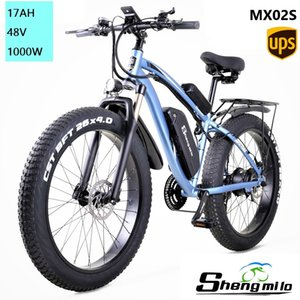 Shengmilo E-bike MX02S Electric 1000w Mountain Bike 17Ah 48V Li-ion City Fat Tire Bicycle Snow Bike Beach Cruise Unisex