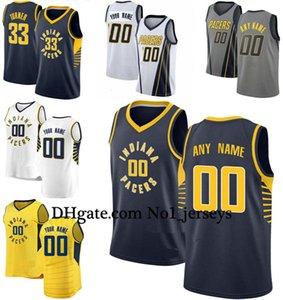 Özel IndianaPacers Erkekler Kadınlar Kid Adı Numara Jersey 00 Anthony 4 Oladipo 31 Miller 33 Turnernba basketbol Formalar Altın Beyaz
