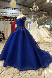 Gorgeous 3D Sparkle Applique Off Shoulder Royal Blue Thick Tulle Sweep Train Pageant Prom Evening Masque Gowns Party Gathering Guest Dress