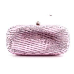 pink plain evening bag clutch night purse Bridal Wedding Dress Crystal Clutch purses Handbags Women Bag wallet lady