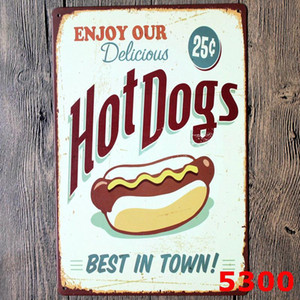 Metal Tin Signs Vintage Cake Hamburger Tin Sign Bar Wall Metal Paintings Art Poster Pub Hotel Restaurant Home Decor 40 Designs EWB1314