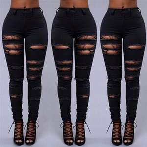 20ss, autumn clubhouse women's sexy style jeans, pure black ripped sexy women's pants, stretch fabric slim fit retro skinny jeans