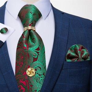 Новая Мода 8 см Мужчины Пейсли Зеленые шелковые галстуки Деловые Свадебные галстуки Галстук для привязки Установите мужской подарок Cravat Dibange