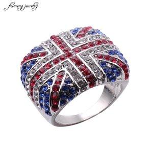 2020 neue Art und Weise Union Jack Cloth Ringe Silber Farbe österreichischen Kristall-UK-Flag-Finger-Ring für Männer Verlobungsring Größe 7-12