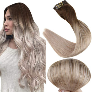 10A Grade Balayage Clip in Hair Extensions Dark Borwn fading to Ash Blonde Ombre Clip in Human Hair Extension 120g 8pcs