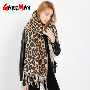 GareMay Women's Winter Scarf for Women Leopard Scarf Warm Soft Cashmere Thicken Long Shawls and Scarves Brown Leopard Poncho