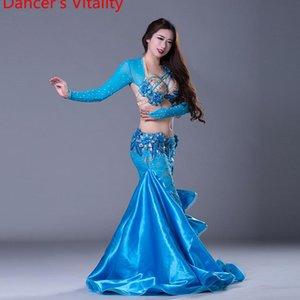 Luxury Girls Belly Dance Costumes Long Sleeves Bra+Lace Skirt 2pcs Belly Dance Suit Women Ballroom Set Dress