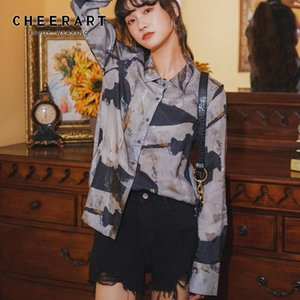 CHEERART Fall 2020 Women Long Sleeve Blouse Colorblock Print Button Up Collar Shirt Autumn Designer Top Clothing Fashionable