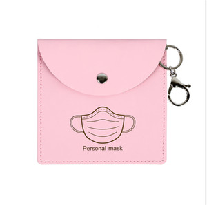 Face Mask Bag PU Waterproof Mask Holder Case Wallets Key Chain Protective Masks Purses Wristlets Keychain Pendants Facemask Pouch HHA3289