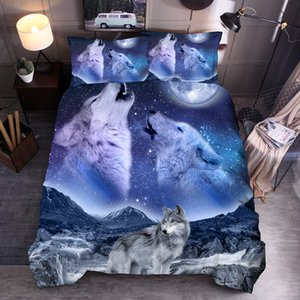 a set of bedding with 3D quilt cover, wolf king printing, dfs01