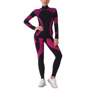 (2) women's long sleeve suit knitting knitting knitting fastening sports suit yoga gym high waist sportswear