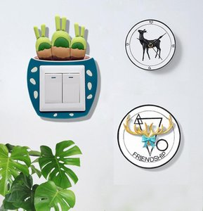 Cartoon Cactus Plant Switch cover Room Decor 3D On-off Switch Sticker Luminous Switch Outlet Wall Sticker