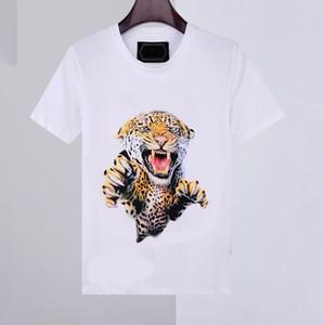 20SS NUEVO Camisa para hombre Camiseta de verano Camiseta de manga corta Phillip Llanura 100% algodón Estampado de animales Cuello redondo Moda Hombres camisetas