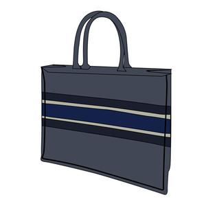 Luxo 3a Venda Quente Marca Clássica 42cm Bolsa De Compras Bordada Azul Lona Bordada Grande Capacidade de Alta Qualidade Bolsa De Alta Qualidade Saco De Ombro Feminino