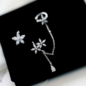 Korean brand fashion luxury zircon snowflake flower tassel earrings ear bone clip fashion women S925 silver needle jewelry earring gift