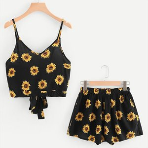 Womail Set Women V Neck Sling Sleeveless Print Sunflower Bow Crop Tops Cord Shorts Outfit Set Women Two Piece Summer May 27